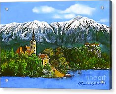 Remembering Bled Acrylic Print by Linda Simon