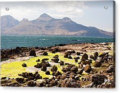 Rock Formations At The Bay Of Laig Acrylic Print by Ashley Cooper