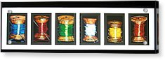Acrylic Print featuring the drawing 6 Spools by Joseph Hawkins