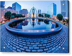St. Louis Downtown Skyline Buildings At Night Acrylic Print by Alex Grichenko