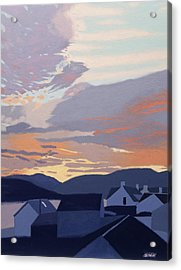 Sunset Over The Roofs Acrylic Print by Malcolm Warrilow
