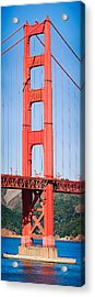 Suspension Bridge Across A Bay, Golden Acrylic Print