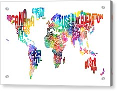 Text Map Of The World Acrylic Print by Michael Tompsett