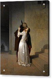 The Kiss Acrylic Print by Francesco Hayez