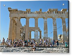 Tourists In Acropolis Of Athens In Greece Acrylic Print by George Atsametakis