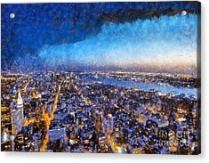 View Of Manhattan From Empire State Building Acrylic Print by George Atsametakis
