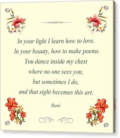 60- Rumi Acrylic Print by Joseph Keane