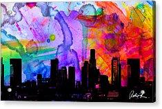 60x34 Panoramic Watercolor Skyline Www.splashyartist.com Acrylic Print
