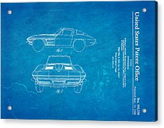 '63 Corvette Stingray Patent Art 1962 Blueprint Acrylic Print by Ian Monk