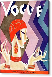 A Vintage Vogue Magazine Cover Of A Woman Acrylic Print by Eduardo Garcia Benito