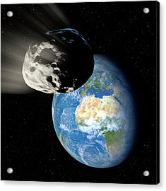 Asteroid Approaching Earth Acrylic Print by Detlev Van Ravenswaay