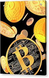 Bitcoins Acrylic Print by Victor Habbick Visions