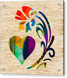 Heart And Flowers Acrylic Print by Marvin Blaine