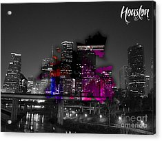 Houston Map And Skyline Watercolor Acrylic Print by Marvin Blaine