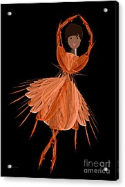 7 Orange Ballerina Acrylic Print by Andee Design