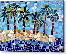 7 Palm Trees Mosaic Acrylic Print