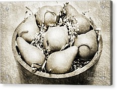 7 Pears At A Party Bw Acrylic Print