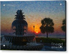 Pineapple Fountain At Dawn Acrylic Print