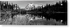 Reflection Of Mountains In A Lake, Mt Acrylic Print by Panoramic Images
