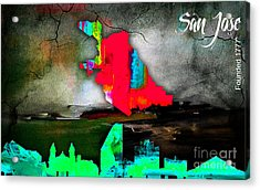 Sacramento Map And Skyline Watercolor Acrylic Print