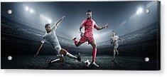 Soccer Player Kicking Ball In Stadium Acrylic Print by Dmytro Aksonov