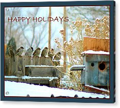 7 Sparrows Sitting On A Fence Greeting Card Acrylic Print