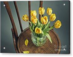 Still Life With Yellow Tulips Acrylic Print by Nailia Schwarz