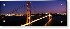 Suspension Bridge Lit Up At Dusk Acrylic Print by Panoramic Images