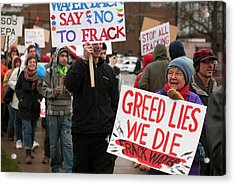 Anti-fracking Protest Acrylic Print by Jim West