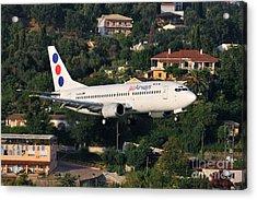 Approaching Corfu Airport Acrylic Print by George Atsametakis