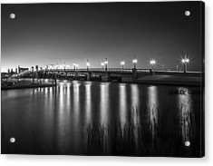 Bridge Of Lions St Augustine Florida Painted Bw Acrylic Print