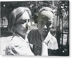 British-born Sculptress Completes Bust Of President Nyerere Acrylic Print by Retro Images Archive