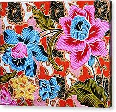 Colorful Batik Cloth Fabric Background  Acrylic Print by Prakasit Khuansuwan