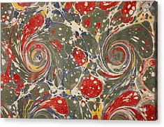 Decorative End Paper Acrylic Print by English School