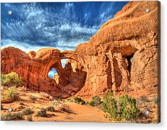 Double Arch In Arches National Park Acrylic Print by Pierre Leclerc Photography