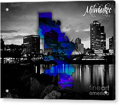 Milwaukee Map And Skyline Watercolor Acrylic Print by Marvin Blaine