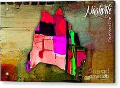 Nashville Map Watercolor Acrylic Print