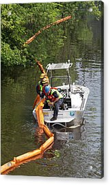 Oil Spill Cleanup Acrylic Print by Jim West