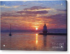 Sunrise At Spring Point Lighthouse Acrylic Print