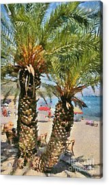 Painting Of Vai Beach Acrylic Print by George Atsametakis