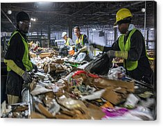 Waste Sorting At A Recycling Centre Acrylic Print by Peter Menzel