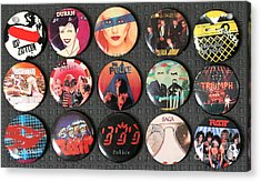 80s Music Rock Pins Acrylic Print by Jt PhotoDesign