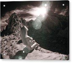 8145  Beautiful Sepia Nude In Mojave Desert Light  Acrylic Print