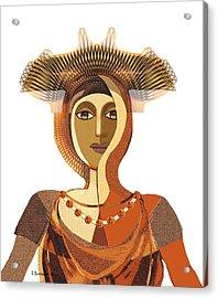 821 - Byzantine Princess Acrylic Print by Irmgard Schoendorf Welch