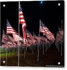 Acrylic Print featuring the digital art 9-11 Flags by Gandz Photography