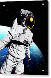 Astronaut In Space Acrylic Print by Sciepro/science Photo Library