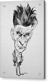 Caricature Of Samuel Beckett Acrylic Print by Celestial Images