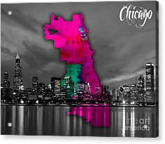 Chicago Map And Skyline Watercolor Acrylic Print by Marvin Blaine