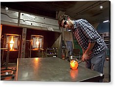 Glass Blowing Acrylic Print by Jim West