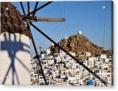 Ios Town And Windmill Acrylic Print by George Atsametakis